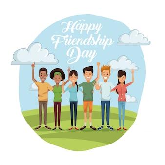 Glücklicher freundschaftstag mit gruppe männern und frauen am sonnigen tag