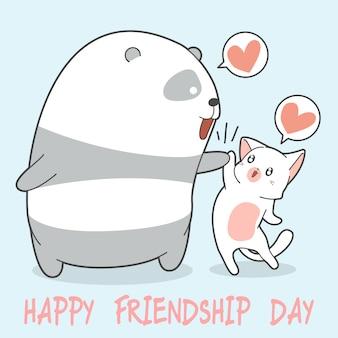 Glücklicher freundschaftstag mit panda und katze.