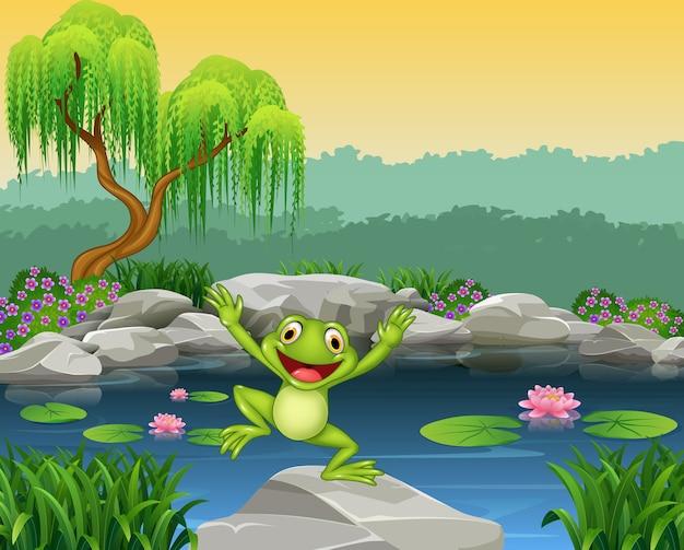 Glücklicher frosch der karikatur, der auf den felsen springt