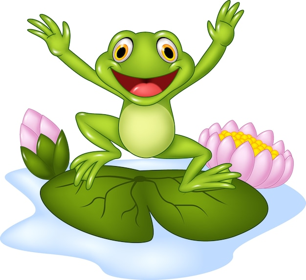 Glücklicher frosch der karikatur, der auf eine seerose springt