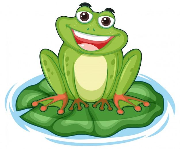 Glücklicher frosch mit großem lächeln, das auf dem blatt sitzt