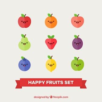 Glücklicher fruchtzeichensatz