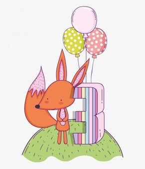 Glücklicher fuchsgeburtstag drei jahre mit ballonen