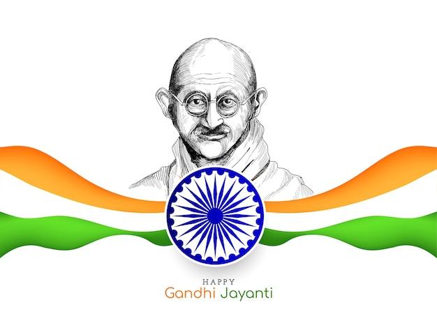Glücklicher gandhi jayanti hintergrund mit indischer dreifarbiger flagge