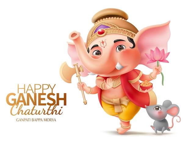 Glücklicher ganesh-chaturthi-charakter mit ganesha und mushika