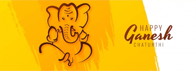 Glücklicher ganesh chaturthi festival kreativer bannerhintergrund