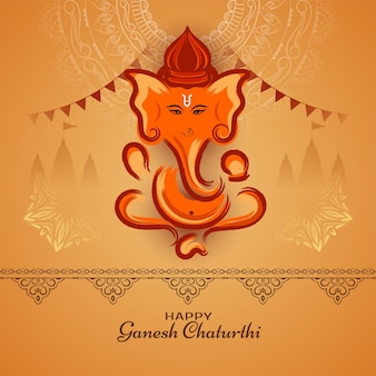 Glücklicher ganesh chaturthi indischer religiöser festivalhintergrundvektor