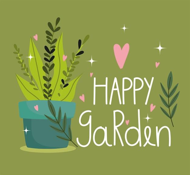 Glücklicher garten, pflanze im topf folaige herzen lieben karte