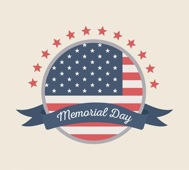 Glücklicher gedenktag, runde etikettenflagge mit amerikanischer feier der bandsterne