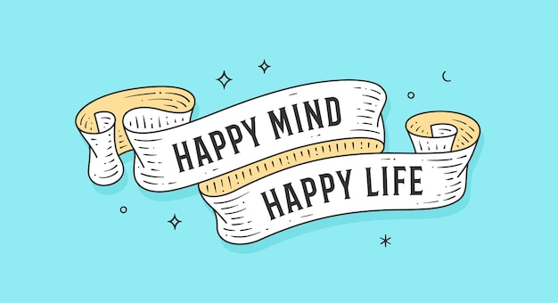 Glücklicher geist glückliches leben. vintages band der alten schule, retro-grußkarte mit band, text happy life.