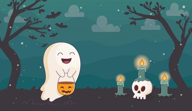 Glücklicher geist mit dem kürbiskerzen-schädel halloween