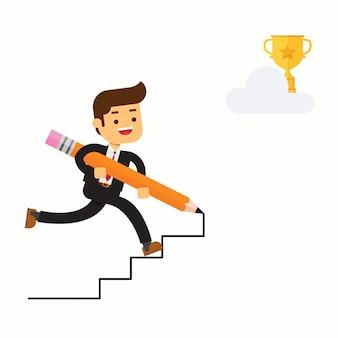 Glücklicher geschäftsmann benutzen bleistift, um seine eigene treppe herzustellen
