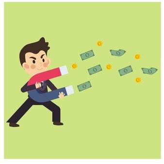Glücklicher geschäftsmann / büroangestellter, der geld mit magneten sammelt. geschäftszeichentrickfilm-figur-vektor.