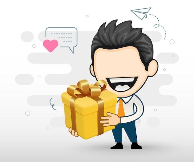 Glücklicher geschäftsmann, der eine große geschenkbox mit bogen hält Premium Vektoren