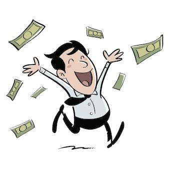 Glücklicher geschäftsmann, der geld verdient