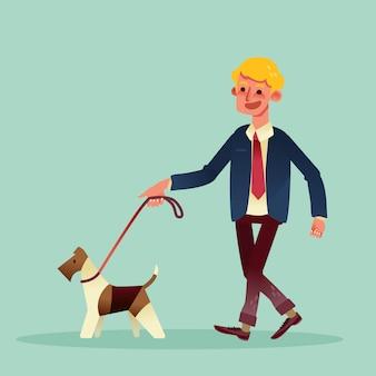 Glücklicher geschäftsmann, der mit seinem hund geht. vektor-cartoon-illustration.