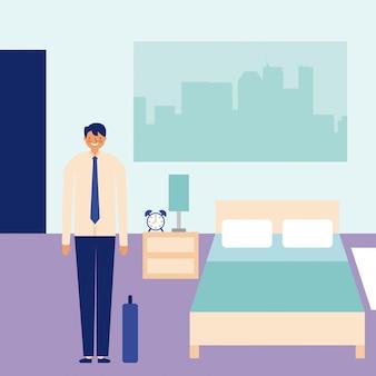 Glücklicher geschäftsmann der täglichen tätigkeit im schlafzimmer