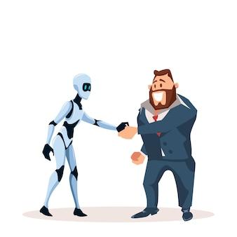 Glücklicher geschäftsmann in der klage und im roboter rütteln hand