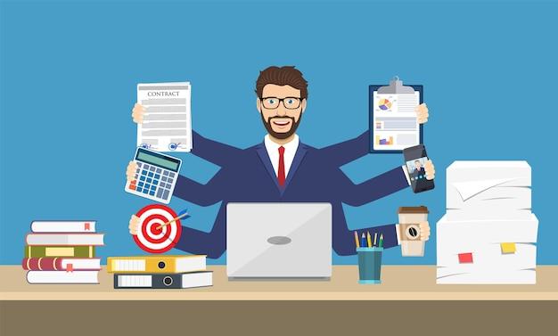 Glücklicher geschäftsmann mit vielen händen, die papiere, kaffee, handy halten. multitasking- und produktivitätskonzept.