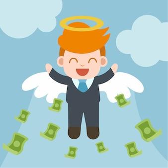 Glücklicher geschäftsmann mit winkelring und -flügel, ziehen viel geld an.