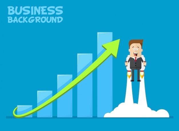 Glücklicher geschäftsmann oder manager, der auf jetpacks zu seinem ziel fliegt. wachstum der wirtschaft. investitionen steigen.
