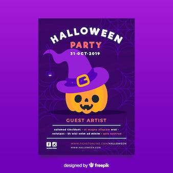 Glücklicher geschnitzter halloween-kürbis mit hexenhutflieger