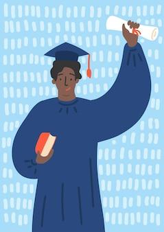 Glücklicher graduierter afrikanischer student mit diplom im abschlusskleid.