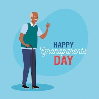 Glücklicher großelterntag mit niedlichem großvater afro vektorillustrationsentwurf