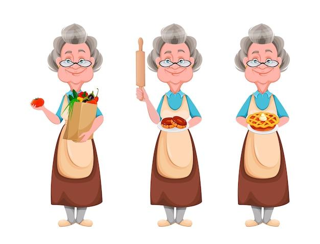 Glücklicher großelterntag, satz von drei posen