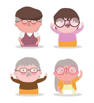 Glücklicher großelterntageskarikatur