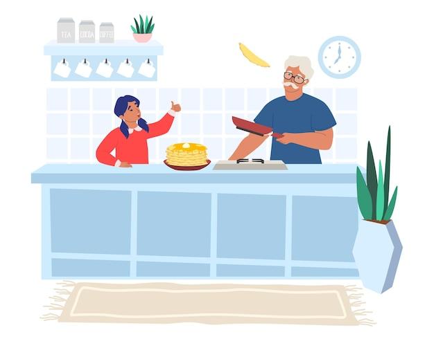 Glücklicher großvater, der pfannkuchen mit enkelin kocht, flache illustration. beziehungen zwischen großeltern und enkelkindern.