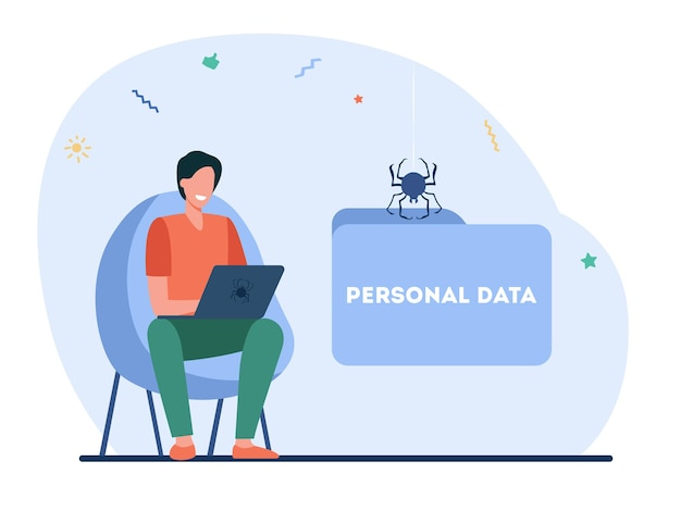 Glücklicher hacker, der persönliche daten stiehlt