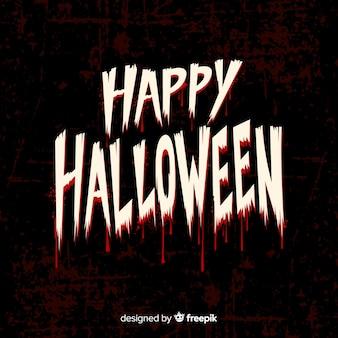 Glücklicher halloween-beschriftungsguß mit blut