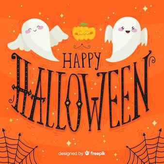 Glücklicher halloween-beschriftungshintergrund