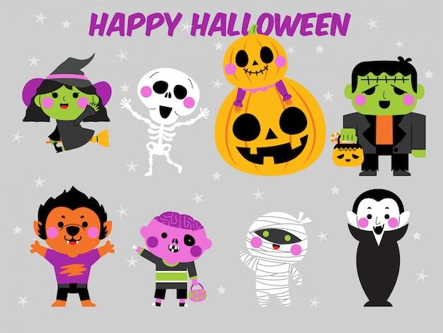 Glücklicher halloween-charakterillustrationssatz