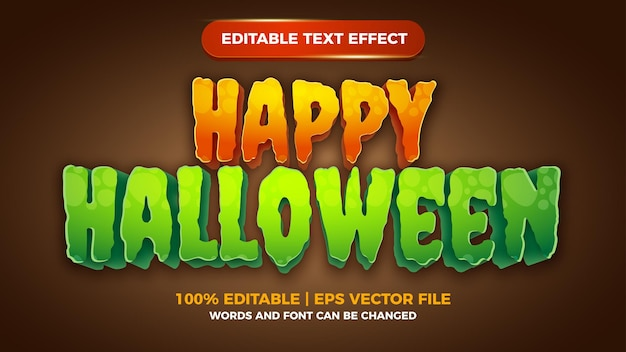 Glücklicher halloween-comic-certon-spiel bearbeitbarer texteffekt
