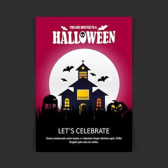 Glücklicher halloween-einladungs-karten-designvektor