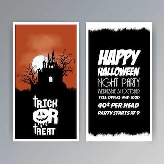 Glücklicher halloween-einladungsbroschüren-designvektor