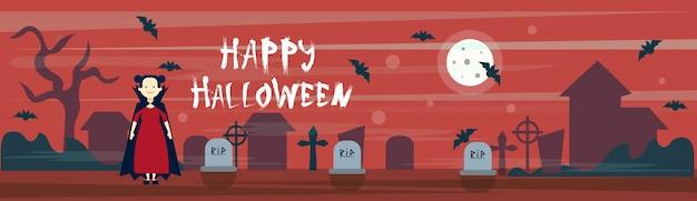 Glücklicher halloween-fahnen-vampir auf kirchhof-friedhof mit grabsteinen und schlägern