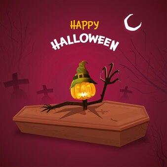 Glücklicher halloween-feier-hintergrund mit jack-o-lantern wear hexenhut am sarg- und friedhofsblick.