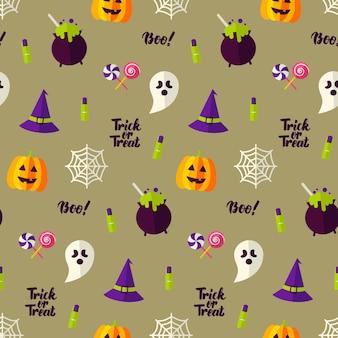 Glücklicher halloween-feiertags-nahtloser hintergrund. vektor-illustration. süßes oder saures muster.