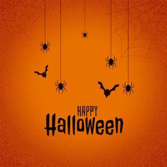 Glücklicher halloween-festivalhintergrund mit schlägern und spinne