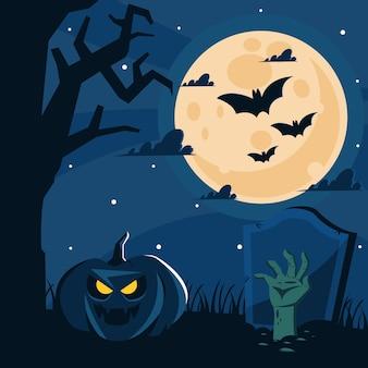 Glücklicher halloween-friedhofshintergrund mit zombiehand und kürbis