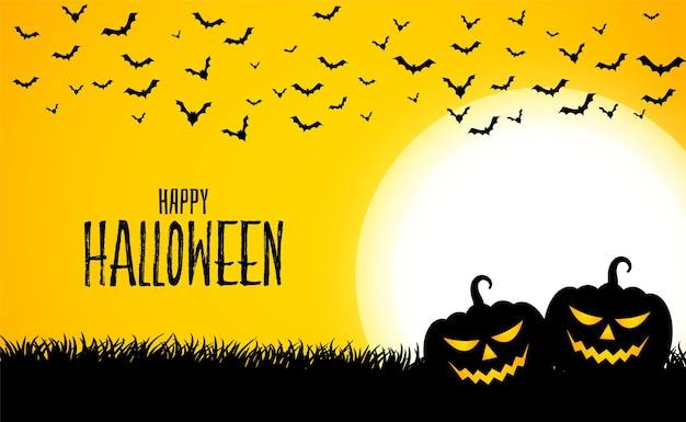 Glücklicher halloween-gelber hintergrund mit zwei kürbisen