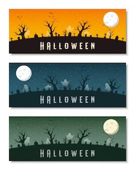 Glücklicher halloween-geschäftsfahnen-schablonensatz
