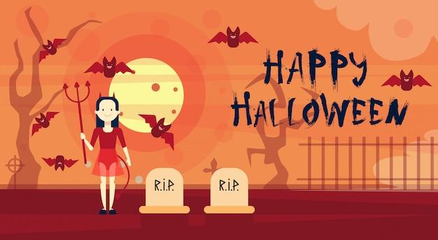 Glücklicher halloween-gruß-karten-vampir nachts auf kirchhof-friedhof