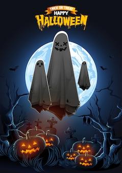 Glücklicher halloween-gruß mit dem geist, der in die luft und in die kürbise nachts schwimmt.
