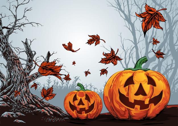 Glücklicher halloween-hintergrund, gruseliger wald halloweens mit kürbishintergrund