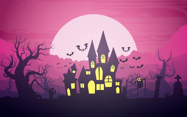 Glücklicher halloween-hintergrund, halloween-illustration.