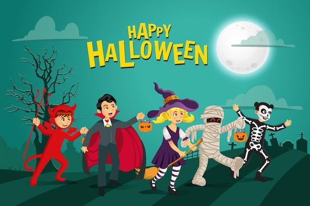 Glücklicher halloween-hintergrund. kinder in halloween-kostüm gekleidet, um süßes oder saures mit grünem hintergrund zu gehen